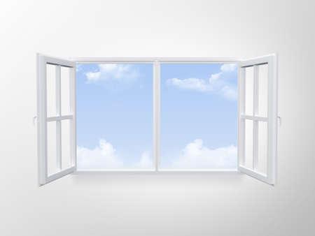 Moderne venster op bewolkte blauwe hemel.