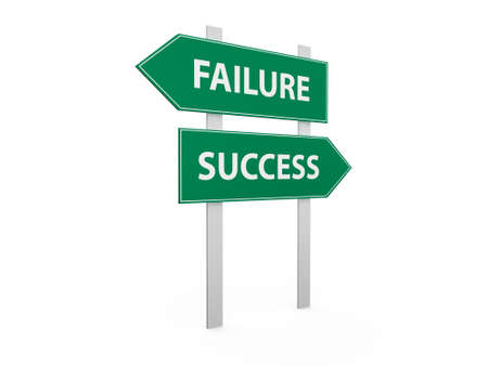 choose a path: Green success and failure road signs, isolated on white background.
