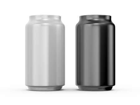 Black and white aluminum cans, isolated on white background. photo