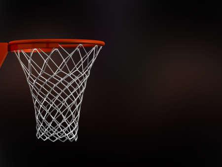 Basketbal mand in arena met witte netten op een zwarte achtergrond.