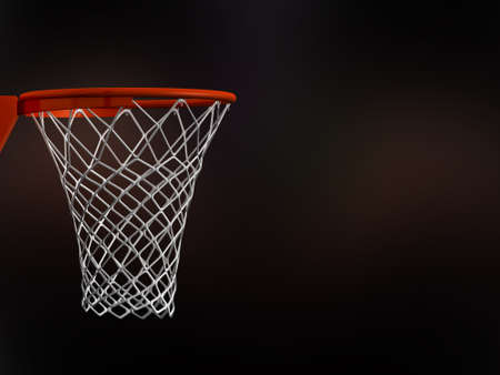 Basketball basket in arena with white nets on black background. Stock Photo