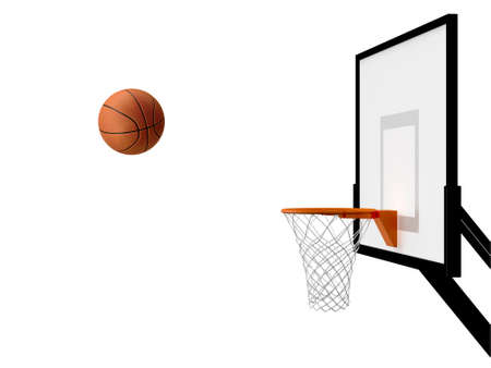 basketball hoop: Basketball basket and ball in movement, isolated on white background.