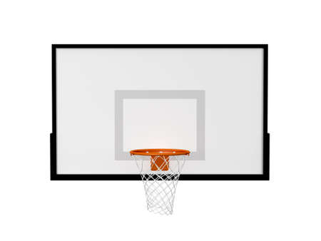 outdoor basketball court: Basketball basket with black border frame, isolated on white background. Stock Photo