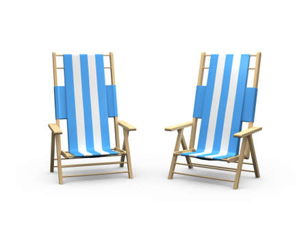 arm chairs: Blue and white beach arm chairs for couple, front view, isolated on white background. Stock Photo