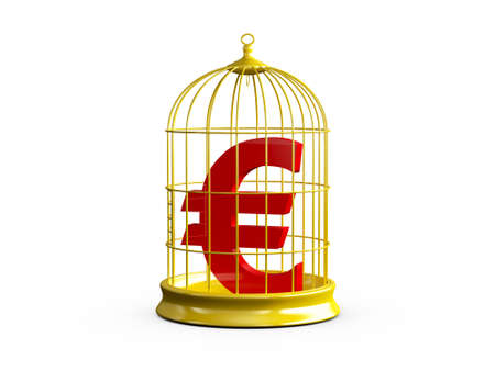 Red euro sign in golden bird cage with closed door, isolated on white background. photo