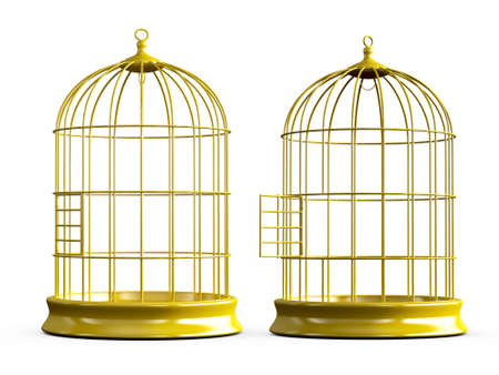 birds on a wire: Open and closed, shiny, empty, golden bird cage, isolated on white background. Stock Photo