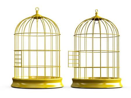 Open en gesloten, glanzend, lege, gouden vogel kooi, geïsoleerd op een witte achtergrond.