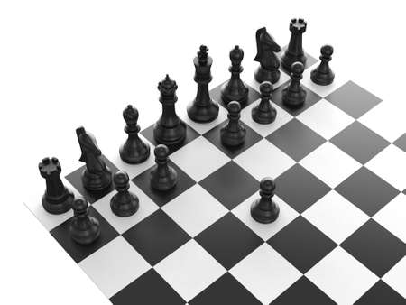 Chess pieces arranged on a chess board and black pawn standing out from the crowd with first move, isolated on white background.