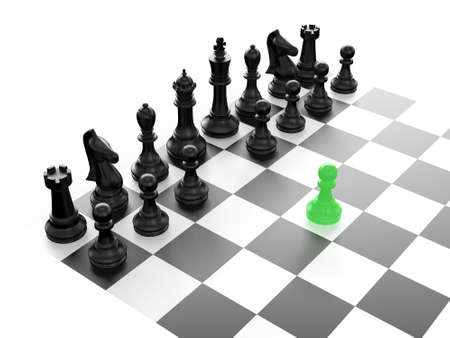 Chess pieces arranged on a chess board and green pawn standing out from the crowd with first move, isolated on white background. photo