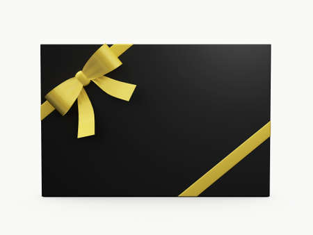 Black elegant gift card with yellow ribbon for your message, isolated on white background. photo