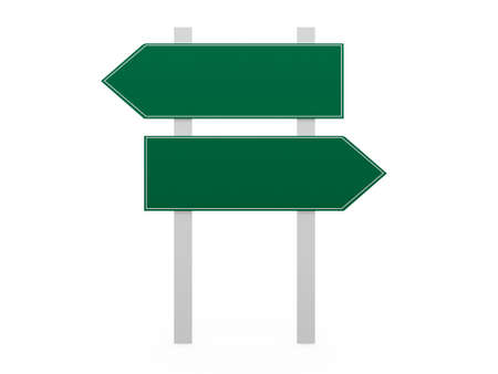 Blank, green left and right arrow road sign template, isolated on white background. photo