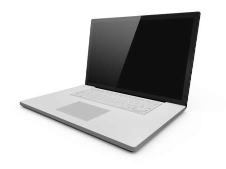 multi touch: Realistic laptop and blank screen with black frame, isolated on white background.