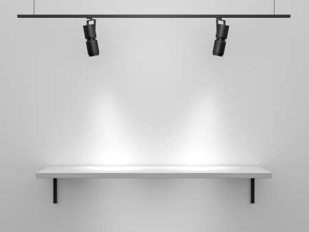 Blank, white, single, high quality shelf installed on the wall upon where you can put, set, show anything with light from top. photo