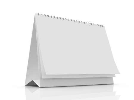 Lege tafel kalender met pagina's, geïsoleerd op een witte achtergrond.
