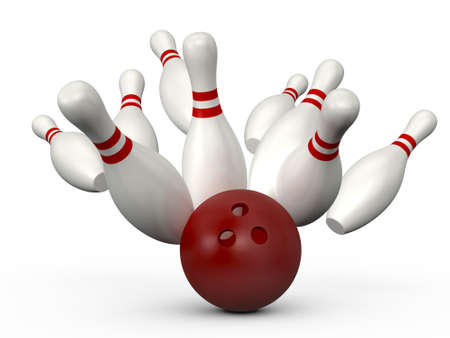 빨간 볼링 공 빨간색 줄무늬, 흰색 배경에 고립 된 볼링 핀에 충돌합니다.