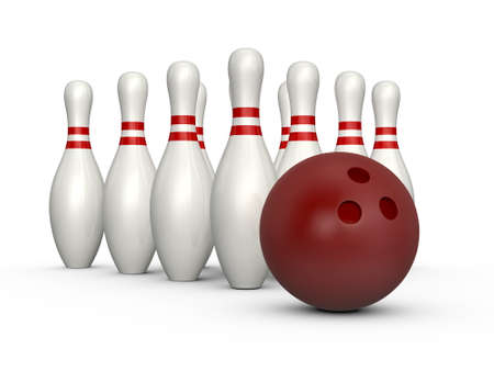 Bowling pins, skittles with red stripes and bowling ball, isolated on white background. photo