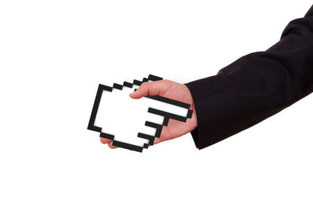 extends: Businessman extends hand to shake with black pixel mouse cursor, pointer, isolated on white background.