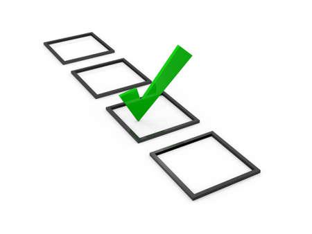 Groen vinkje teken op lijst optie, geïsoleerd op een witte achtergrond.
