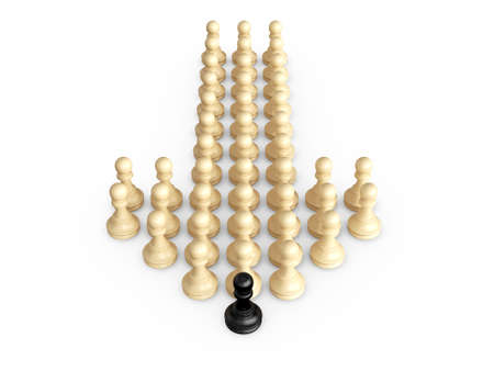 battle plan: Straight direction arrow from chess pieces and black pawn as the leadership of others, isolated on white background.