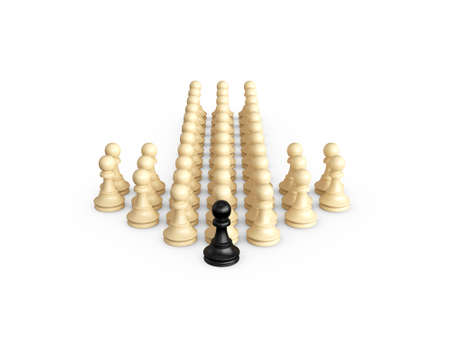 Straight direction arrow from chess pieces and black pawn as the leadership of others, isolated on white background. photo