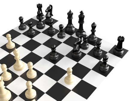 bishop chess piece: Chess pieces in a war  on chess board, isolated on white background.