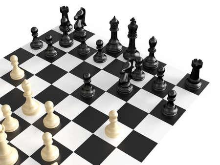 jugando ajedrez: Piezas de ajedrez en una guerra contra el tablero de ajedrez, aislados en fondo blanco.