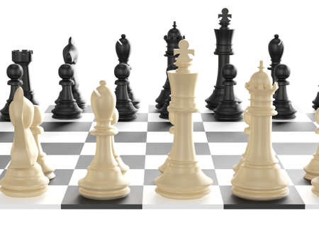 battle plan: Chess board with starting positions aligned chess pieces, back view, isolated on white background.