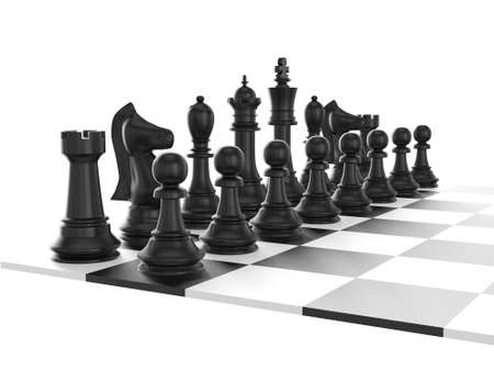 Chess board with starting positions aligned chess pieces, isolated on white background. photo