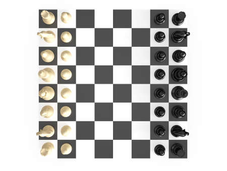 Chess board with starting positions aligned chess pieces, top view, isolated on white background. photo