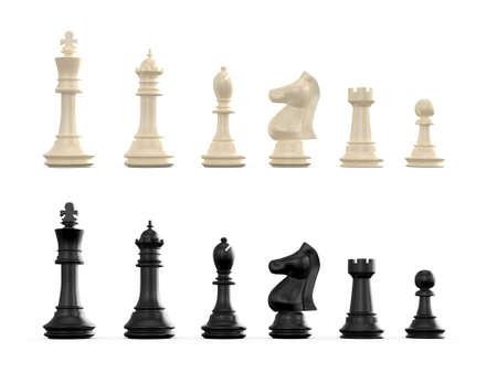 흰색 배경에 고립 된 어둠과 빛 체스 세트.
