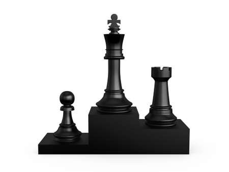 battle plan: Black victory podium with chess pieces, first king, second rook, third pawn, isolated on white background.