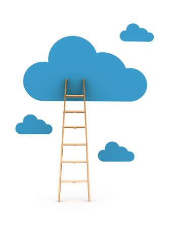 Clouds and ladder, isolated on white background photo