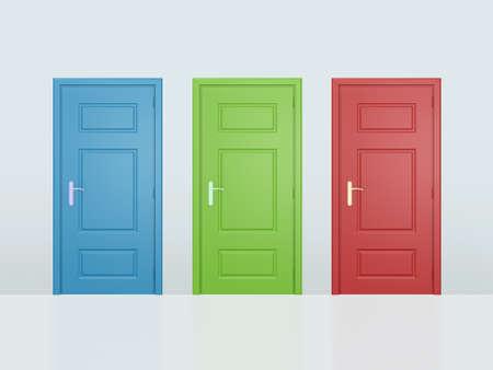 Drie kleurrijke gesloten deuren op een grijze muur.