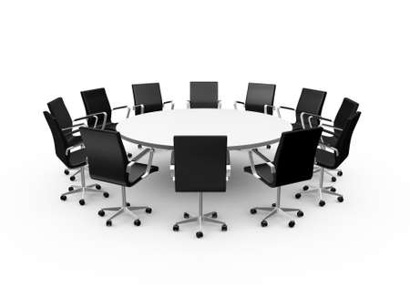 round chairs: Conference round table and black office chairs in meeting room, isolated on white background.