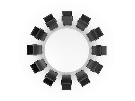 round chairs: Conference round table and black office chairs in meeting room, top view, isolated on white background. Stock Photo