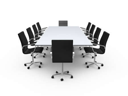 Conference table and black office chairs in meeting room, isolated on white background.