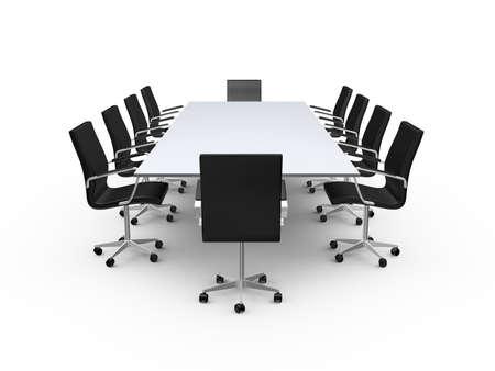 Vergadertafel en zwarte bureaustoelen in de vergaderzaal, op een witte achtergrond.