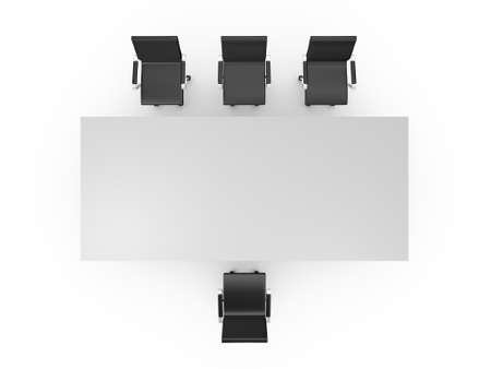 Conference table and black office chairs in meeting room, top view, isolated on white background. photo
