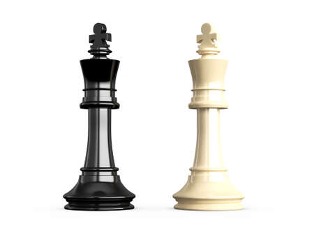 battle plan: Confrontation of chess pieces kings, isolated on white background.