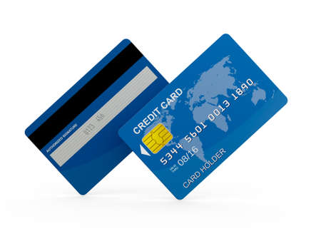 Blue realistic credit card, front and back view on isolated white background. photo