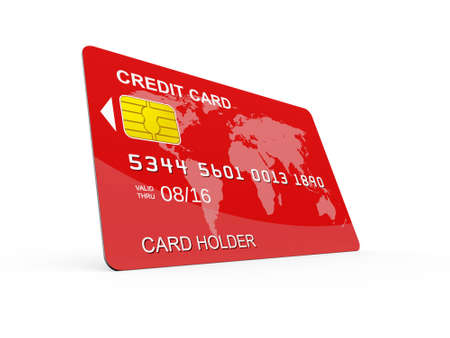 Red credit card on perspective, isolated on white. photo
