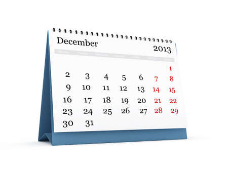Desk calendar, December month, 2013 year, isolated on white background. photo