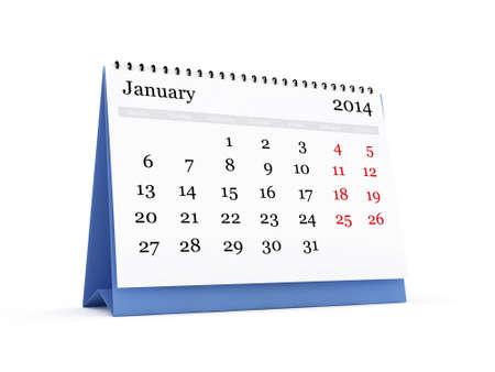 chronologie: Calendrier de bureau, Janvier mois 2014 ann�e, isol� sur fond blanc.