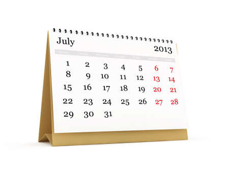 Desk calendar, July month, 2013 year, isolated on white background. photo