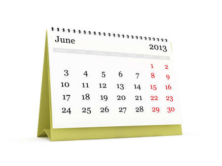 Desk calendar, June month, 2013 year, isolated on white background. photo