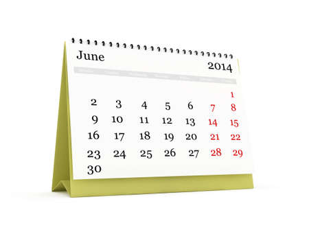 cronologia: Calendario de escritorio, mes de Junio ??de 2014 a�os, aislado en fondo blanco.