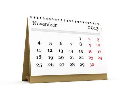 Desk calendar, November month, 2013 year, isolated on white background. photo