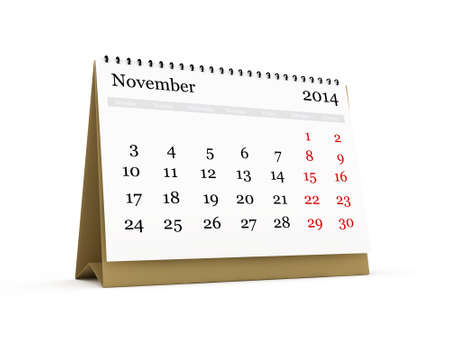 Desk calendar, November month, 2014 year, isolated on white background. Stock Photo - 22592469