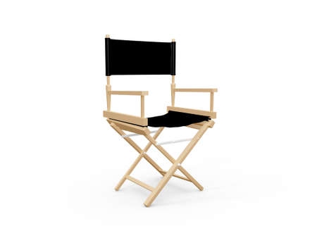 Front view of directors chair in film industry, isolated on white background. photo
