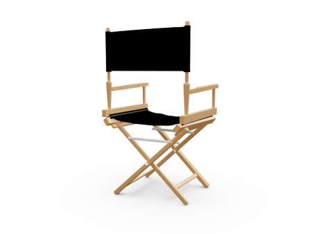 folding chair: Back view of directors chair in film industry, isolated on white background.